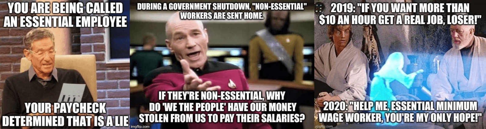 Memes about how essential employees are paid poorly.